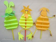 such a sweet idea for an outdoor Easter egg hunt activity...kids find sticks and can make their own puppets to put on their own puppet show!