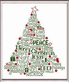 Lets Deck the Halls cross stitch pattern. - I'd like to use this idea but put the names of Jesus on the tree instead (Emanuel, Wonderful, Counselor, Son of God, Savior of the World, The Word, etc.)