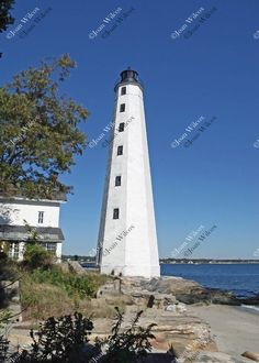 Scenic New London, Connecticut Lighthouse Shoreline Beacon Rocks Original Fine Art Photography Wall Art Photo Print. A bright and sunny day highlights this gorgeous lighthouse in New London, CT. Lighthouse lovers and lovers of anything nautical will appreciate this! Against the deep blue sky, this photo just pops! Also get this lighthouse on a beautiful bookmark for a perfect matching theme here!... http://www.amazon.com/dp/B018D9GQIO Beautiful, unique and all original, prints by Joan...