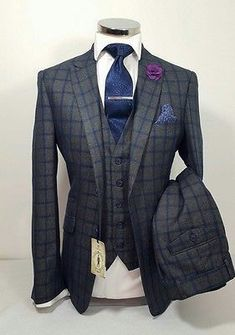 MENS GREY 3 PIECE TWEED SUIT NAVY CHECK WEDDING PARTY PROM TAILORED SMART