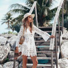 Apr 2020 - Summer Women Bikini Cover Up Floral Lace Hollow Crochet Swimsuit Cover-Ups Bathing Suit Beachwear Tunic Beach Dress Hot White Lace Mini Dress, White Dress Summer, Dress Lace, Mesh Dress, Bikini Cover Up, Swimsuit Cover Ups, Bathing Suit Cover Up, Beach Outfit For Women, Beach Dresses