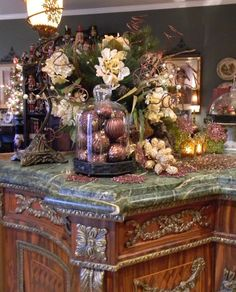 Nancy's Daily Dish: Christmas Cloche Vignette in Brown