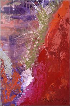 All The Rage by Dosia McKay, abstract art, acrylics on stretched canvas 24 x 36 x 0.75 in (61 x 91 x 2 cm) $400 #finearat #decor #interiordesign purple red
