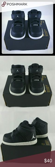 Infant's Jordan 1 Flight 4 Premium BT Infant's Jordan 1 Flight 4 Premium BT Size - 4C Color - Black/Pure Platinum-Black  *Shoes are Brand New, never worn *Box does NOT contain lid, NO Box Top!  Baby & Toddler Shoe made with a durable upper and soft cushioning for total comfort on the playground.  Premium combination upper for comfort and support Rubber cupsole for cushioned comfort Rubber outsole for durability and traction Nike Shoes Sneakers