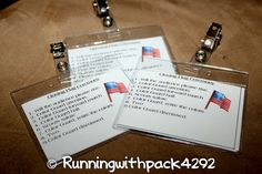 Cub Scout Flag Ceremony cheat sheets for boys to help them remember all the steps to calling the opening or closing flag ceremony. They can clip them on their pocket or hang them on a lanyard when it is their turn to lead the ceremony. Scout Mom, Girl Scout Troop, Scout Leader, Girl Scouts, Cub Scout Crafts, Cub Scout Activities, Scout Games, Kid Activities, Cub Scouts Wolf