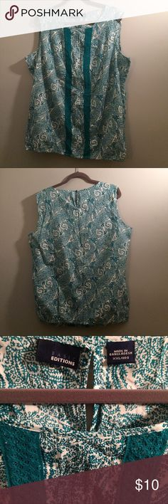 Paisley Print Tank w/ Lace detail sz XXL, Like New Like New!  Paisley Print Tank, white background with teal details in size XXL. Basic Editions Tops Tank Tops