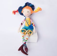 Pippi doll Pippi Longstocking Fabric doll Аrt doll Handmade