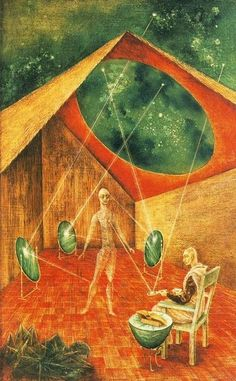 Creación con Rayos Astrales, 1955. Óleo y tempera sobre masonite. 67.4x42.6 cm. Colección privada. Surrealismo. Remedios Varo. (Oil and tempera on masonite panel).