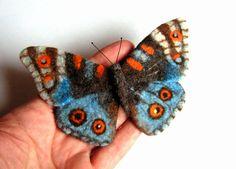 Hand Felted Brooch Real Butterfly blue brown от lannarfelt