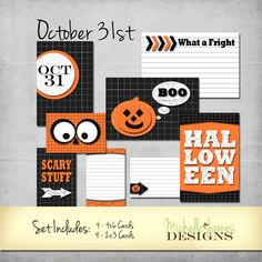 October 31 Project Life $2.99 - http://michellejdesigns.com - An adorable set for digital project life, scrapbooking and card making - #projectlife, #halloween, #scrapbooking