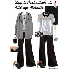 """""""Day to Party Look #2 Mid-age Metallic"""" by professionality on Polyvore"""