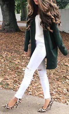 #fall #outfits / green coat + leopard print