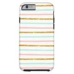 Modern Girly Pink Teal Gold Glitter Stripe Pattern Tough iPhone 6 Case