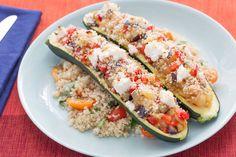 Ratatouille-Filled Zucchini with Tomato & Basil Quinoa
