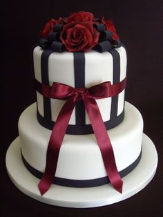 Black and white with burgundy bow by Riverland Cake Design