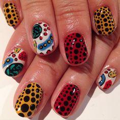 """""""Kusama Yayoi"""" art nails #avarice #kayo #art #nails #nailart #design #nailart…"""