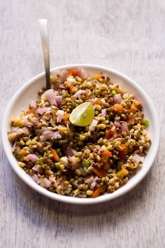 moong sprouts salad, healthy moong sprouts salad | moong recipes [maybe add another cup of sprouted mun beans to make a full four servings. added shredded carrots. served over chopped salad greens and sesame ginger dressing. Very good!]