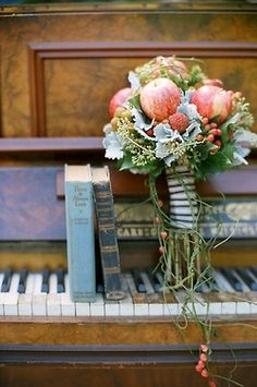 a good read, freshly picked flowers & some sweet piano tunes