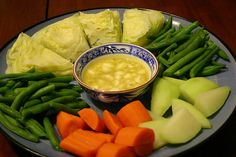 Steamed Green Cabbage, Green Beans, Carrots and Chayote Squash (Use a vegan dip of choice).