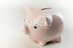 Pink Piggy Bank with Daisies Royalty Free Stock Photo