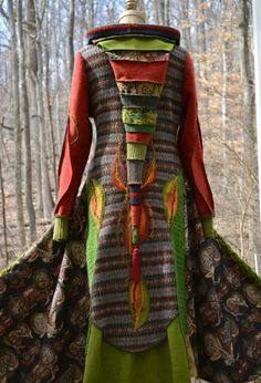 Patchwork SWEATER COAT Woodland pixie style with by amberstudios