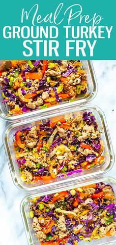 Easiest Ever Ground Turkey Stir Fry - The Girl on Bloor This ground turkey stir fry is the easiest recipe ever! It's low carb too - all you need is ground turkey, bell peppers, carrots and coleslaw mix. It's a great weeknight dinner idea. Low Carb Ground Turkey Recipe, Ground Turkey Soup, Ground Turkey Meal Prep, Ground Turkey Tacos, Healthy Ground Turkey, Ground Turkey And Peppers Recipe, Easy Ground Turkey Recipes, Ground Turkey Dinners, Salads