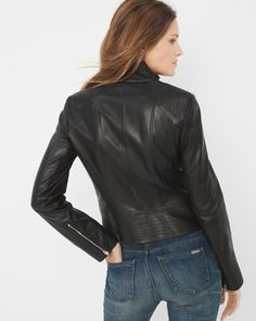 "It all begins with buttery, jet-black leather. We equipped this jacket with pintucked detailing for feminine flair (and the best fit ever). Moto zippers toughen up this unbelievably soft piece. Complete your look by wearing it wiith a heathered v-neck tee and your most coveted, lived-in jeans.    Leather moto jacket    Genuine leather. Dry clean by leather specialist.   Approx. 22"" from shoulder     Imported"