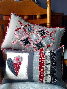 Red, white and blue cushions