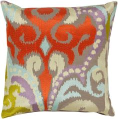 Surya Ara Radiant Swirl Pillow, Neutral, Multi-Color
