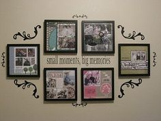 Picture display using frames & vinyl. Cricut Vinyl, Cricut Creations, Vinyl Crafts, Home And Deco, Scrapbook Pages, Scrapbooking, Scrapbook Wall Art, Scrapbook Layouts, Diy Projects To Try