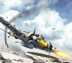 Штурмовик Хеншель-129 атакует советские танки (Валерий Петелин)