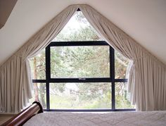 shaped-3 Attic Window, Bedroom Windows, Window Curtains, Window Coverings, Window Treatments, Small Cottage Plans, Shaped Windows, Made To Measure Curtains, Window Dressings