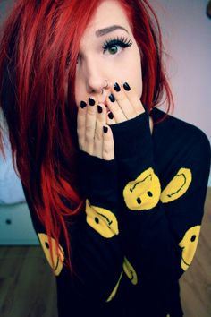 girl piercings plugs Grunge tattoos red hair long hair eyelashes Make up hello scene ginger septum scene hair nose ring grunge hair girls with mods Emo Scene Hair, Emo Hair, Dye My Hair, Girly, Pelo Emo, Pelo Multicolor, Emo Girls, Hair Girls, Emo Girl Names
