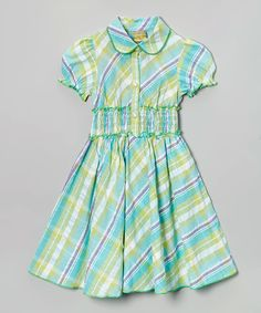 Maria Elena Blue & Green Plaid Dress - Kids   zulily
