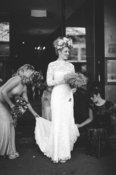 It takes some serious fashion guts to rock this oversized floral crown!   Photo by Lara Hotz