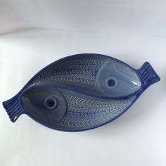 Vintage blue ceramic fish plate / Gabriel Keramik por PotsAndLamps