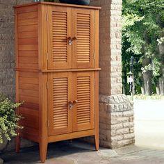 Outdoor Storage Cabinet Wood Shed Garden Backyard Organizer 4 Doors Shelves