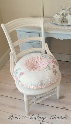 Mimi's Vintage Charm: painted chair and added the Simply Shabby Chic pillow