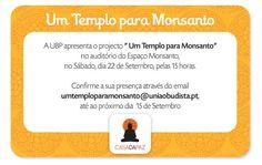 """Convite para Sessão de Apresentação do Projecto """"Um Templo para Monsanto"""".  Organizado pela União Budista Portuguesa"""