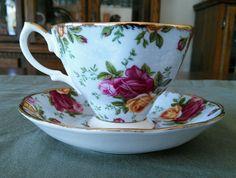 "Prince Royal Albert Old Country Roses ""Blue Damask"" Pattern Cup and Saucer Set #RoyalAlbert"
