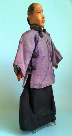 """Antique Chinese Door Of Hope Mission Doll """" Grandmother """" 11"""" c1900"""