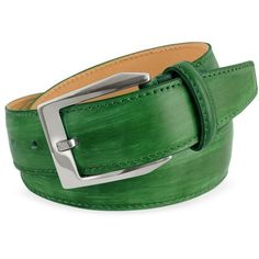 Pakerson Men's Green Hand Painted Italian Leather Belt ($252) ❤ liked on Polyvore featuring mens, men's accessories, men's belts, belts and accessories