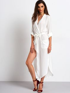 5ce3bbef850d6 Online shopping for White Belted Side Split Shirt Dress from a great  selection of women s fashion
