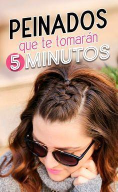 Peinados que te tomarán 5 minutos. Easy hairstyle. Braid hair. Braids style. Chica con un trenza a mitad de la cabeza con un bun