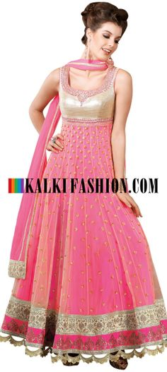 Buy Online from the link below. We ship worldwide (Free Shipping over US$100) http://www.kalkifashion.com/pink-anarkali-suit-with-embroidered-neckline-8496.html Pink anarkali suit with embroidered neckline