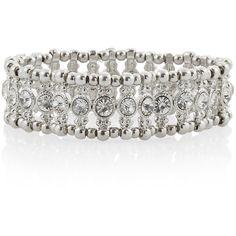 Silver Crystal Skinny Stretch Bracelet found on Polyvore