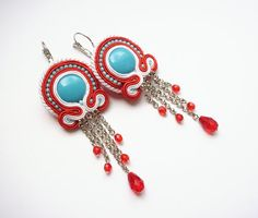 Soutache earrings handmade embroidered in red by SaboDesign.