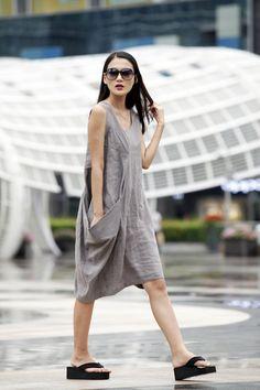 Single Big Pocket Vest Dress in Wine Red NC037 by Sophiaclothing