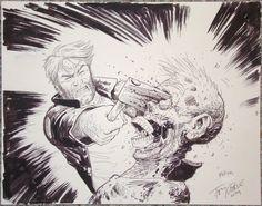 Tony Moore - Rick vs. Zombie - Walking Dead Comic Art