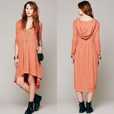 FP Orange Comfy Hooded Dress Long-sleeved speckled thermal Hi-Lo midi with a big drapey hood. This color has been sold out for a long time.  100% Cotton   Worn twice, this adorable casual dress is in excellent condition. Free People Dresses Midi